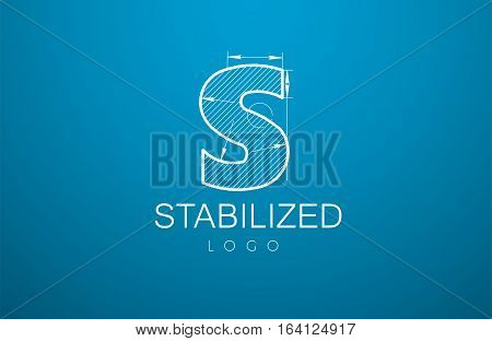 Logo Template Letter S In The Style Of A Technical Drawing.