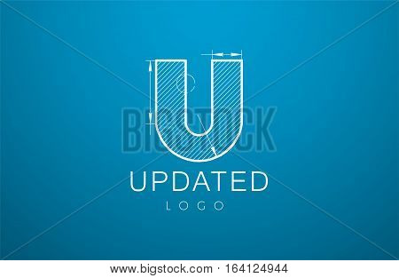 Logo Template Letter U  In The Style Of A Technical Drawing.