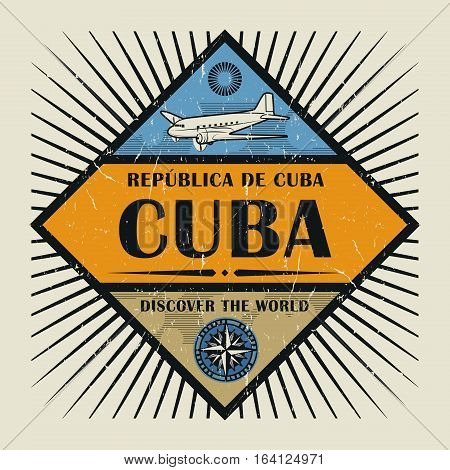 Stamp or vintage emblem with airplane compass and text Cuba Discover the World vector illustration