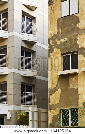 Old Houses after and before Reconstruction in Tel Aviv