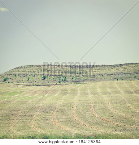 Mown Field on the Hill in Sicily Italy Instagram Effect