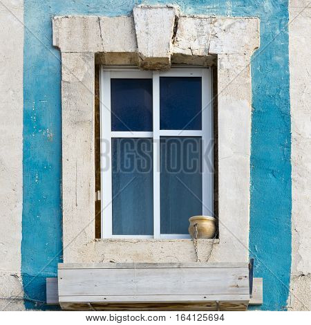 Israel Old Window Decorated with Ceramic Flower Pot in Jaffa