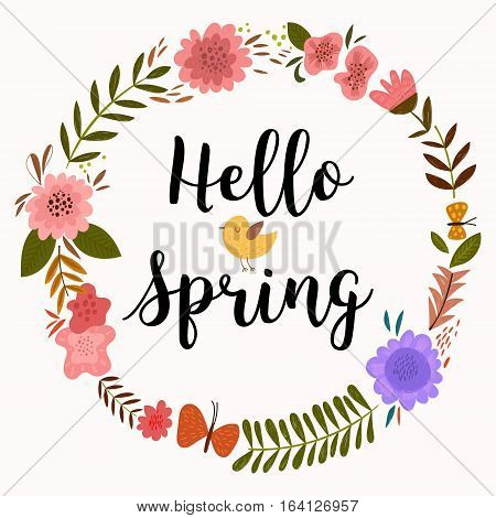 Hello Spring Greeting Card. Hand Drawn Illustration With Flower Wreath And Lettering.- Stock Vector