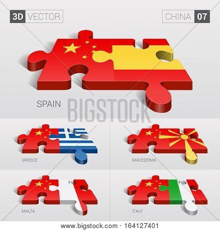 China and Spain, Greece, Macedonia, Malta, Italy Flag. 3d vector puzzle. Set 07.