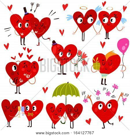Cartoon Heart Collection-set Of Valentine Hearts For Your Design-stock Vector
