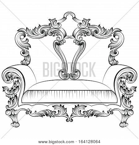 Exquisite Fabulous Imperial Baroque armchair. Vector French Luxury rich intricate ornamented structures. Victorian Royal Style decor