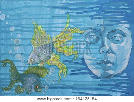 Watercolor portrait of a girl and ornamental fish on a background of water