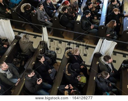 Bucharest Romania January 31 2016: People are participating to a religious service inside the Coral Temple in Bucharest.
