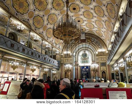 Bucharest Romania January 31 2016: People are visiting the Jewish museum inside the Coral Temple in Bucharest.