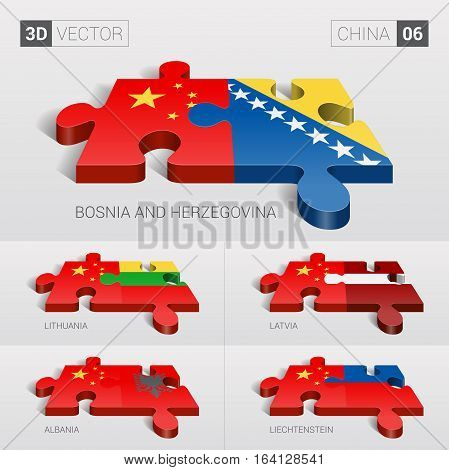 China and Bosnia and Herzegovina, Lithuania, Latvia, Albania, Liechtenstein Flag. 3d vector puzzle. Set 06.