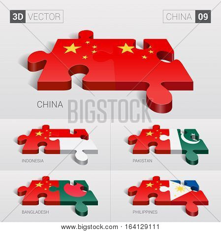 China and China, Indonesia, Pakistan, Bangladesh, Philippines Flag. 3d vector puzzle. Set 09.