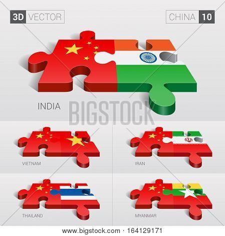 China and India, Vietnam, Iran, Thailand, Myanmar Flag. 3d vector puzzle. Set 10.