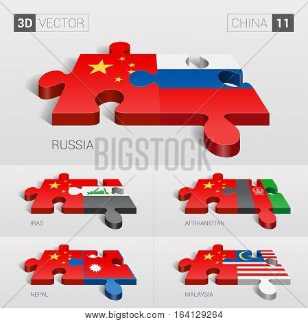 China and Russia, Iraq, Afghanistan, Nepal, Malaysia Flag. 3d vector puzzle. Set 11.