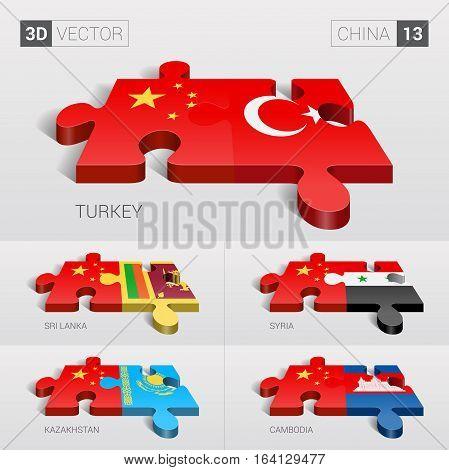 China and Turkey, Sri Lanka, Syria, Kazakhstan, Cambodia Flag. 3d vector puzzle. Set 13.