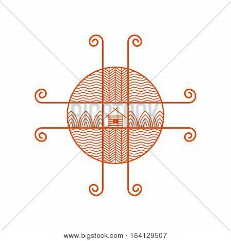 Vector icon of nature, logo element in liner ethno style on white background. Natural and ecology concepts or for jewerly design.