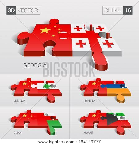 China and Georgia, Lebanon, Armenia, Oman, Kuwait Flag. 3d vector puzzle. Set 16.