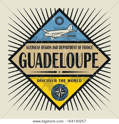 Stamp or vintage emblem with airplane compass and text Guadeloupe Discover the World vector illustration