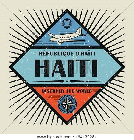 Stamp or vintage emblem with airplane compass and text Haiti Discover the World vector illustration