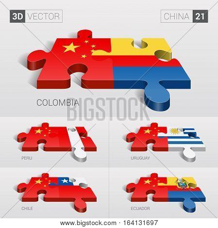 China and Colombia, Peru, Uruguay, Chile, Ecuador Flag. 3d vector puzzle. Set 21.