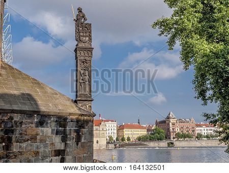 Czech Republic Prague .Vltava River . One of the pillars of the Charles Bridge. View on the Mala Strana from the Charles Bridge .