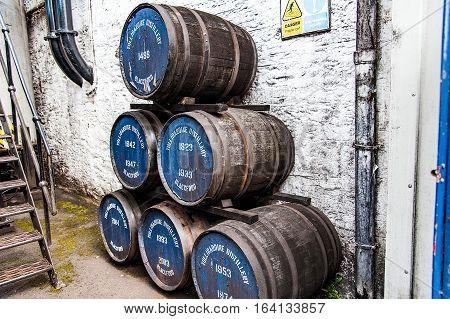 BLACFORD PERTHSHIRE SCOTLAND UK September 16 2016 barrel of whiskey in the Tullibardine distilleryhighlands of scotland