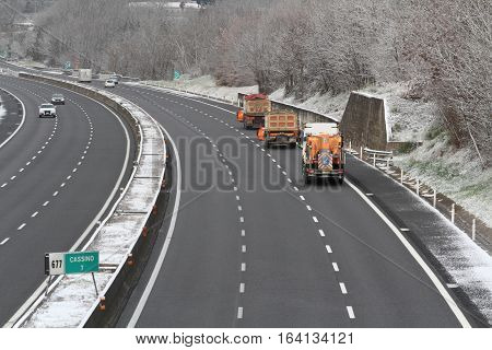 Cassino - Italy - January 6 2017 - The first snow of the year in southern Italy the means snowplow on the A1