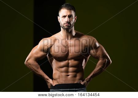 Man Showing Abdominal Muscle