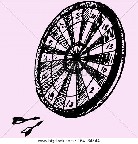 Darts and dartboard doodle style sketch illustration hand drawn vector