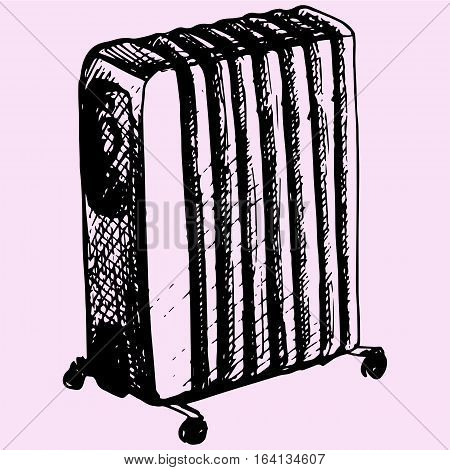 Electric heating, oil heater doodle style sketch illustration hand drawn vector