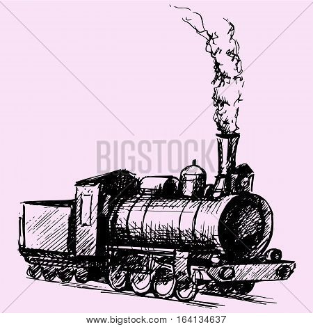retro steam locomotive doodle style sketch illustration hand drawn vector