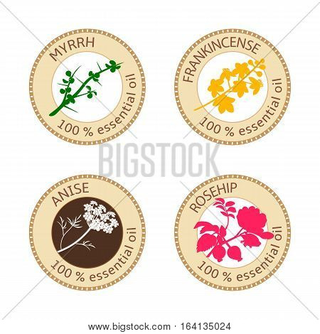 Set of flat essential oil labels. Myrrh, anise, rosehip, frankincense. Logo collection. Vector illustration. Brown stamps, bright silhouettes. For stickers, price tags advertising banners poster