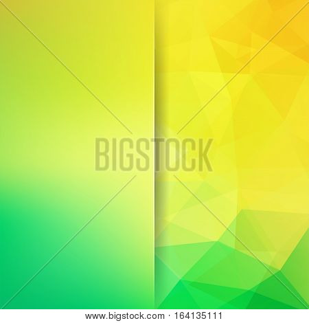 Background of geometric shapes. Blur background with glass. Yellow, green mosaic pattern. Vector EPS 10. Vector illustration