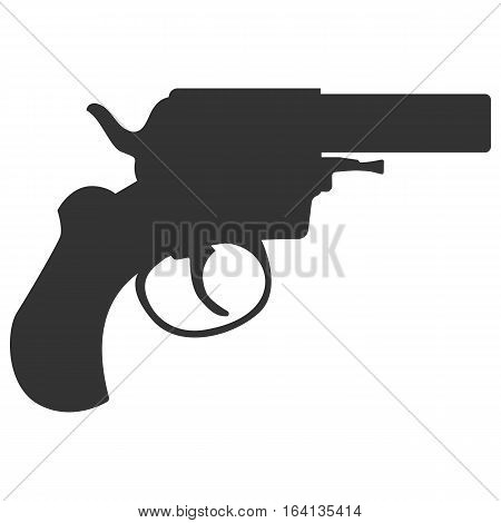 Pistol handgun silhouette security and military weapon. Metal revolver gun. Criminal and police firearm vector illustration.