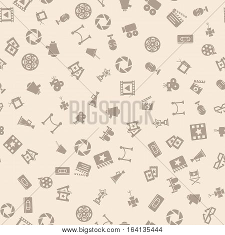 Cinema retro movies icons seamless pattern, tiling ornament. Vector illustration