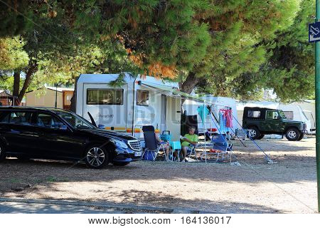 VODICE, CROATIA - SEPTEMBER 6, 2016: This is one of many tourist campsites located on the Dalmatian coast.