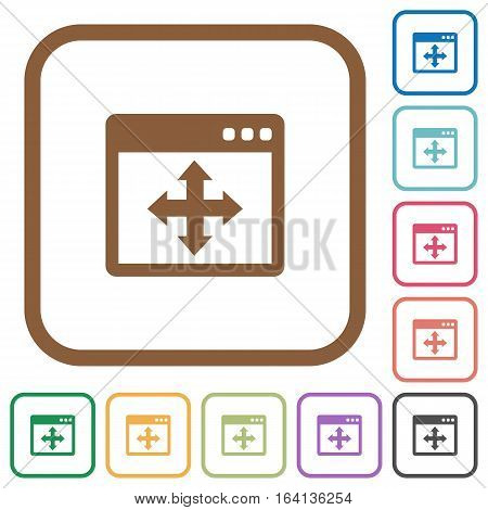 Move window simple icons in color rounded square frames on white background