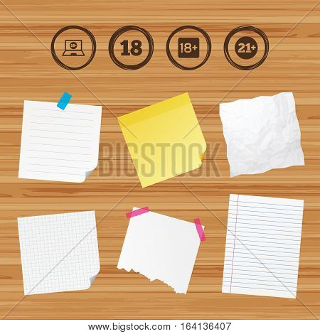 Business paper banners with notes. Adult content icons. Eighteen and twenty-one plus years sign symbols. Notebook website notice. Sticky colorful tape. Vector