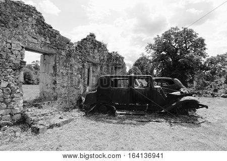 ORADOUR -SUR -GLANE, FRENCH DESTROYED VILLAGE , 10 JUNE 1944