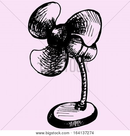 Electric table fan doodle style sketch illustration hand drawn vector