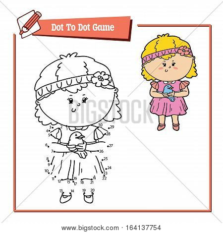 Vector illustration of dot to dot educational puzzle game with happy cartoon girl and bird for children