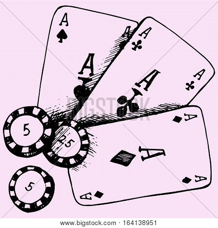 casino theme playing chips poker card doodle style sketch illustration hand drawn vector