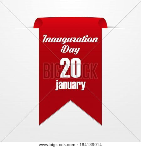Red label with the date of inauguration day