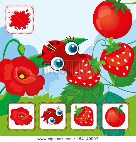 Vector educational cards of red color. Ladybird with red strawberries