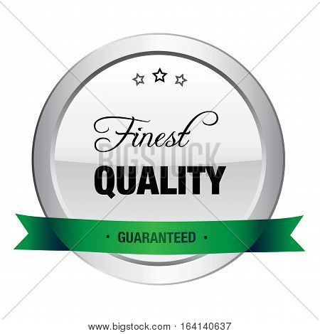 Finest quality seal or icon. Silver seal or button with stars and green banner.