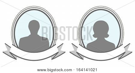 vintage frame banner signing photo, oval photo frame with a silhouette of a man and a woman with a banner for the signature image, vector template for family album