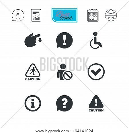 Caution and attention icons. Question mark and information signs. Injury and disabled person symbols. Report document, calendar and information web icons. Vector