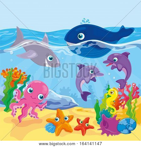 Vector illustration of marine inhabitants - dolphins, sharks, whales, octopus and starfish