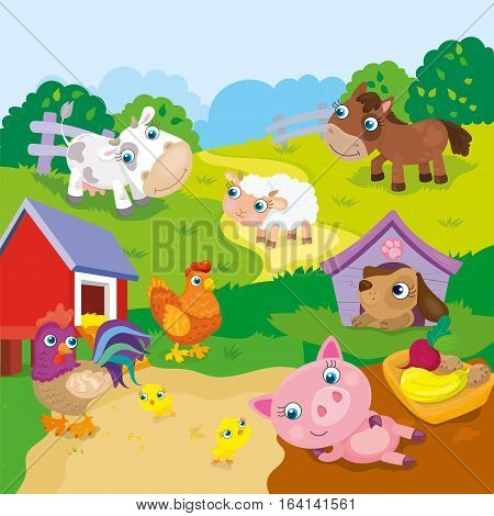 Vector illustration of farm animals - horse, sheep, cow, rooster, pig, dog and hen and chicken
