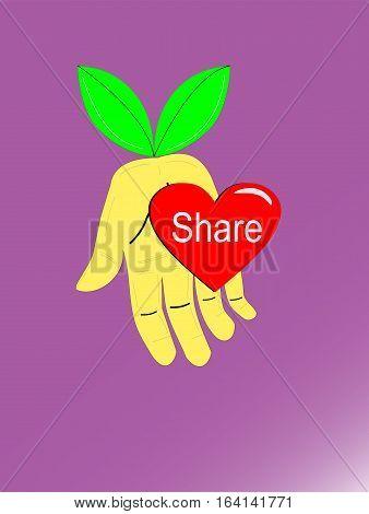 Metaphore of Hand Giving Heart Vector Illustration