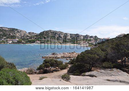 Baia Sardinia beach on Sardinia Italy at summer